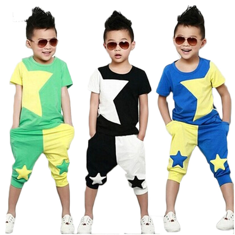 2014NEW children clothing set stars boys set baby sets short t shirt+pants 2 pcs set clothes kids suit 2-7Years