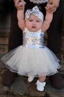 Ivory And Silver Sequins Sparkle Tutu Set Sequin Baby Dress Tutu Dress Outfit Dress Bloomer Headband
