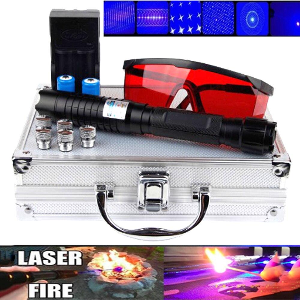 Haute Puissance pointeur Laser Brûlant Laser bleu Torche 445nm 10000 m Focalisables Laser sight Pointeur lampe de Poche match de brûlure cigarette allumée