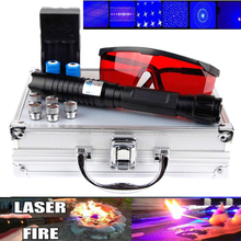 High Power laser pointer Burning Blue Laser Torch 445nm 10000m Focusable sight Pointer Flashlight burn match lit cigarette