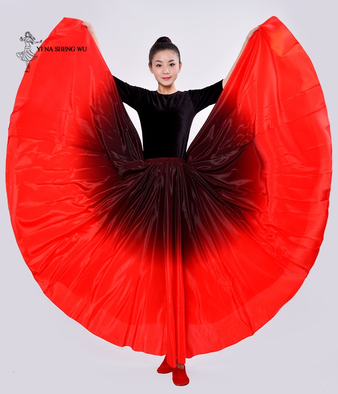 Women Belly Dance Costumes Long Dance Skirt Big Swing Skirt Performance Gypsy Wear Lady Dancing Dress Satin Long Spanish Skirt