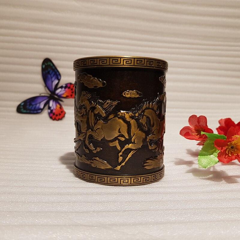 Vintage Chinese style bronze pen holder (5)