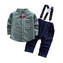 Baby Boy Children Clothing  Plaid Solid Shirt + Strap Trousers Two-Piece Suit Cotton цены онлайн
