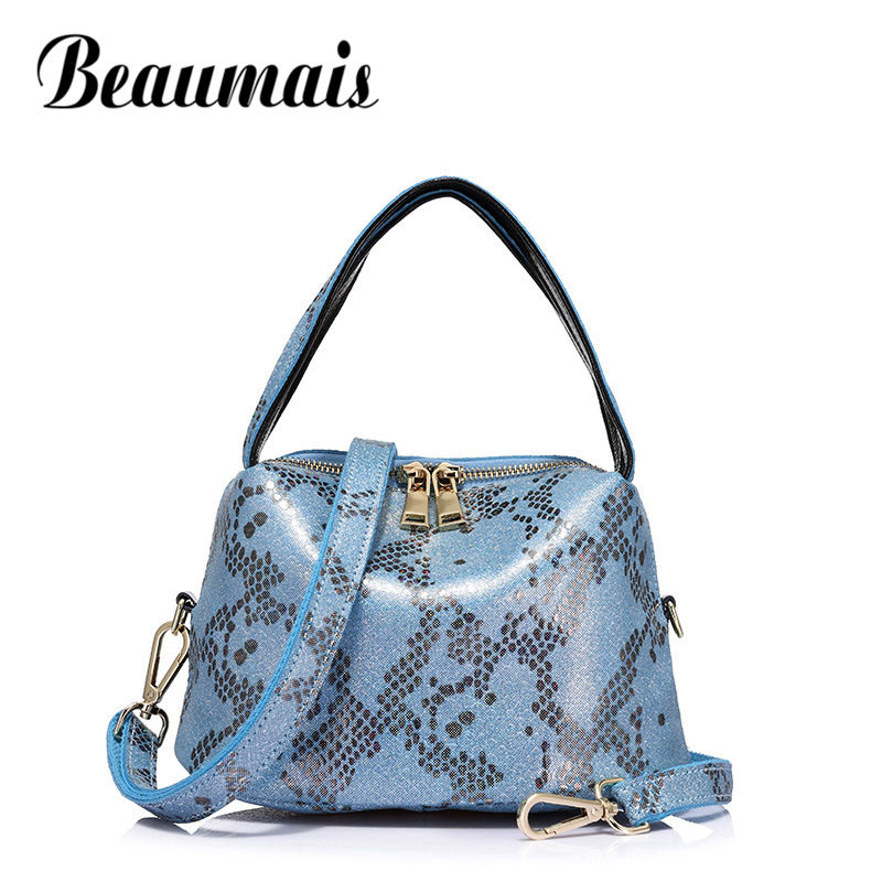 Beaumais 2017 New Genuine Leather Shoulder Bag For Women Serpentine Pattern High Quality Handbag Ladies Crossbody Bag DF0170 new serpentine pattern cow leather women s bag handbag european