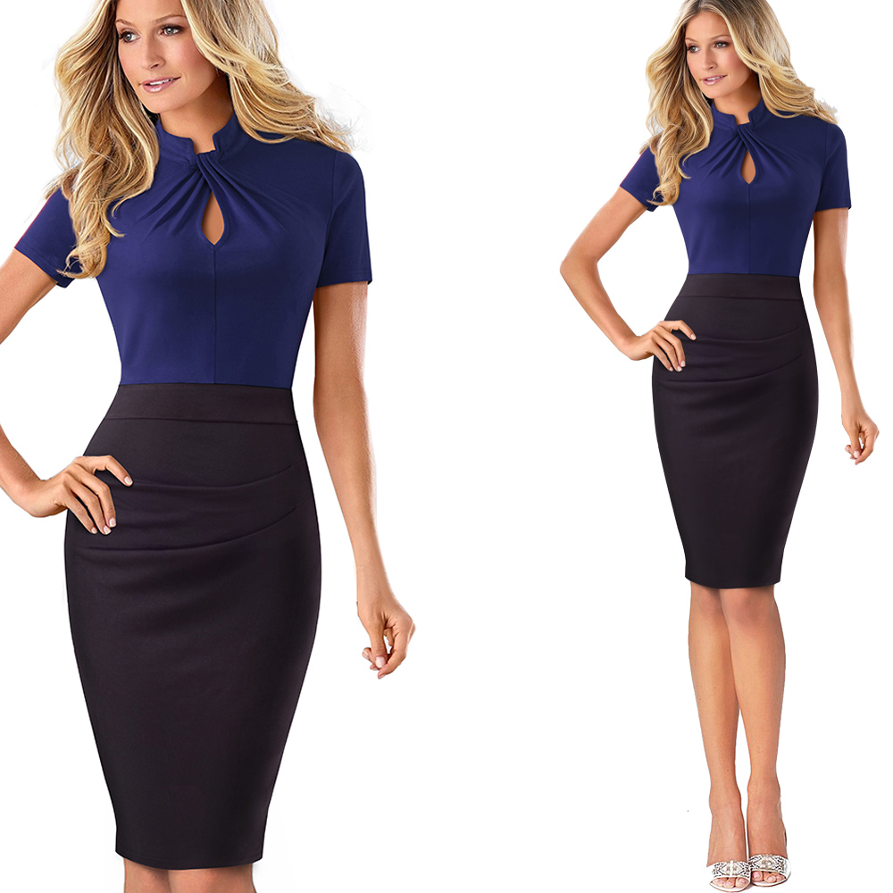 Nice-forever Vintage Contrast Color Patchwork Wear to Work Knot vestidos Bodycon Office Business Sheath Women Dress B430 22