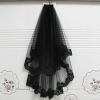 Edge Lace Black Wedding Veils With Comb Two Layers Short Bridal Veil Tulle Embroidery Wedding Accessories veu de noiva LT017