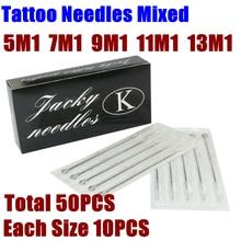 50PCS Assorted Sterilized Tattoo Needles Mixed 5/7/9/11/13 M1 Single Stack Magnum Needles For Tattoo Machine Gun