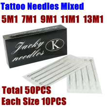 50PCS Valikoidut Steriloidut Tattoo Needles Mixed 5/7/9/11/13 M1 Single Stack Magnum-neulat Tattoo Machine Gunille Ilmainen toimitus
