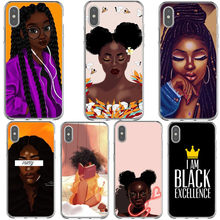 Afrikaanse Schoonheid Afro Rookwolken Black Girl Case Voor Iphone 11 Zachte Siliconen Telefoon Cover Voor Iphone 11Pro Max Xr Xs max 6 6 S 7 8 Plus(China)