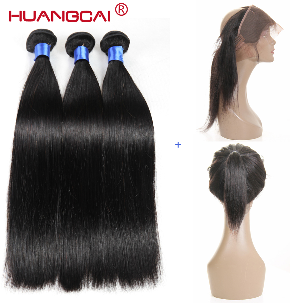 HuangCai Straight Peruvian 360 Lace Frontal Closure With Bundles Human Hair 3 Bu