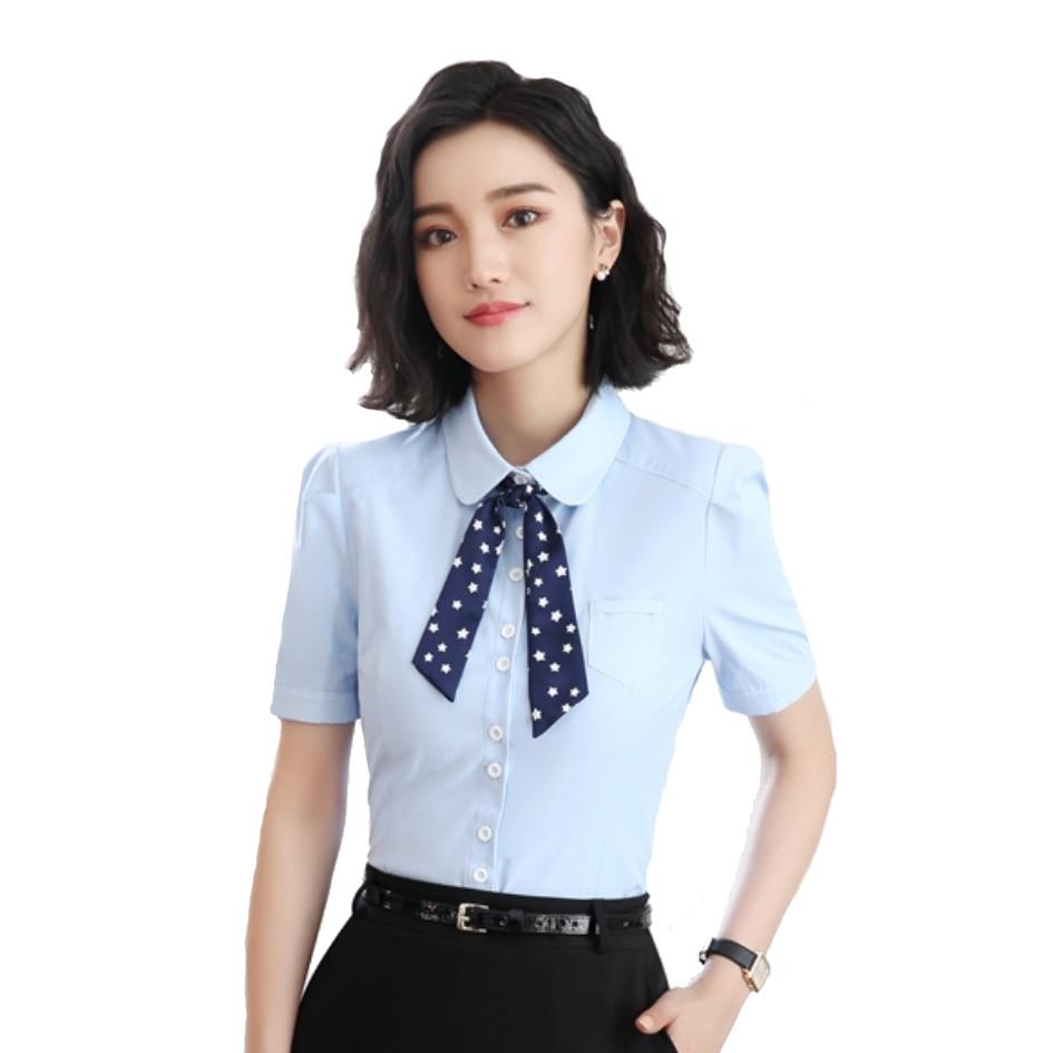 9d694df7 Elegant Fashion Summer Bow Tie Shirt Women OL New Formal Slim Business  Wearing Blouse Office Ladies Work Wear Top White/ Blue