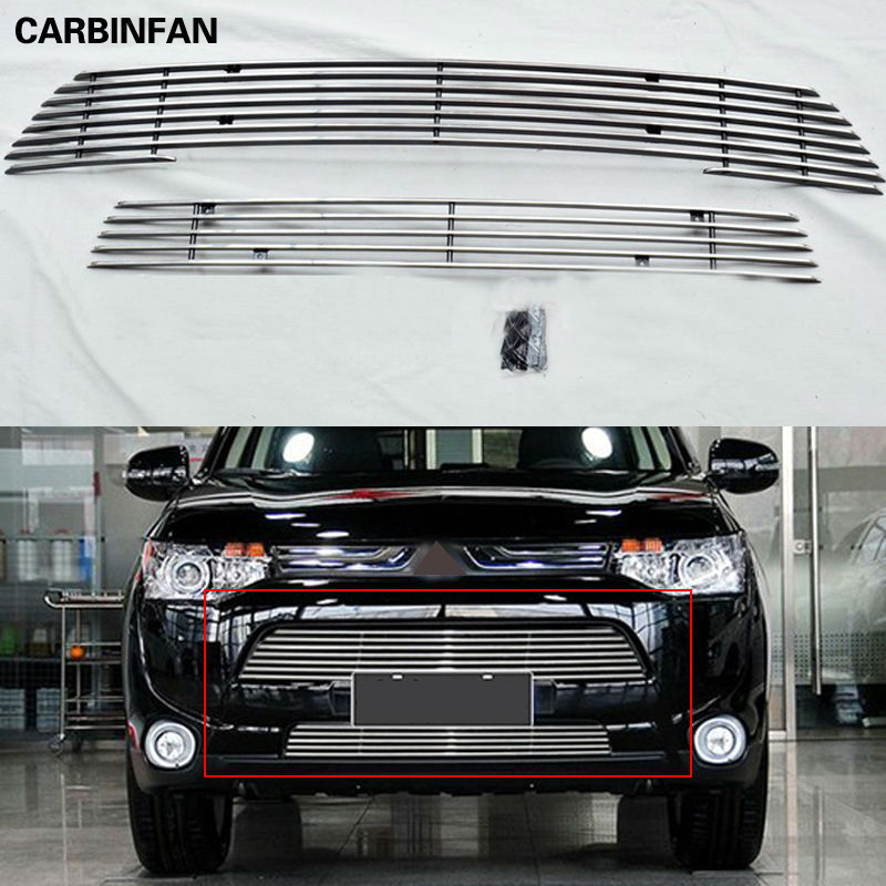 Free Shipping Front Center Grill Grid Grille 2pcs set Cover Trim For 2013 2014 Mitsubishi Outlander