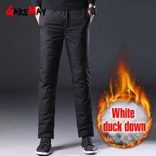 Pantalon dhiver pour homme, Streetwear en duvet blanc, à poches chaudes et noires, décontracté, pour lhiver