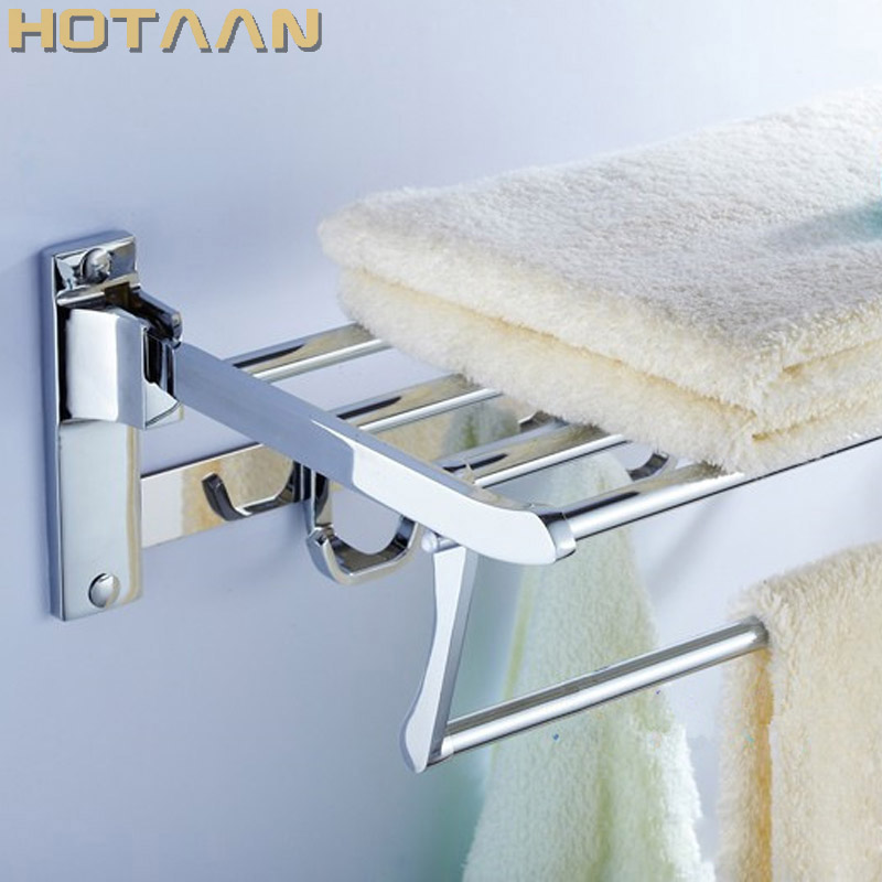 HOT SELLING, FREE SHIPPING, Bathroom towel holder, Foldable towel rack,60cm Stainless steel towel rack with hooks nail free foldable antique brass bath towel rack active bathroom towel holder double towel shelf with hooks bathroom accessories