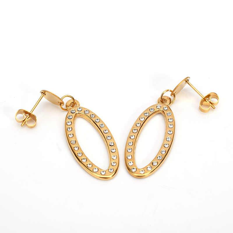 SOITIS 316L paslanmaz çelik takı Oval şekli kadın moda küpe kolye klasik tarzı altın renk zincir takı setleri