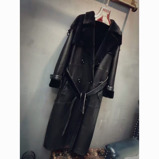 New Real Sheepskin Fur Shearling Fur Coats Double-faced Jackets Extra Long Female Warm Outerwear Black Slim Real Fur Clothes