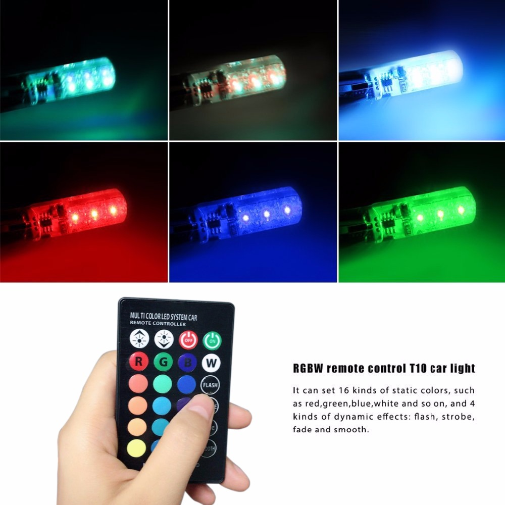 2PCS X RGB W5W T10 168 194 Car LEd Reading Lights/Clearance Lights/License Plate Light/car door light For honda/toyota/ford/lada 2x t10 w5w 168 194 smd 6 led 5050 remote control rgb car reading wedge lights for car tail light side parking door lighting