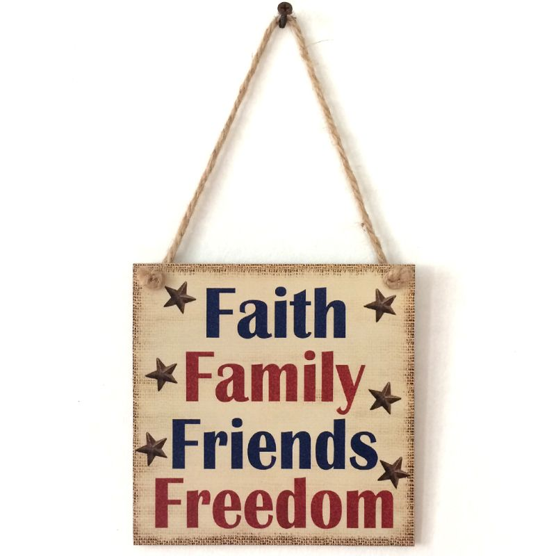Rustic Wooden Hanging Plaque Sign Board Faith Family Friends Freedom Room Wall Door Home Decoration Gift-in Plaques & Signs from Home & Garden