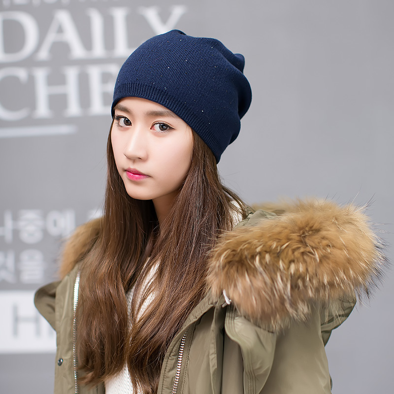The female head of wool knitted hat winter leisure all-match pure hip-hop cap ear diamond trendsetter knitted skullies cap the new winter all match thickened wool hat knitted cap children cap mz081