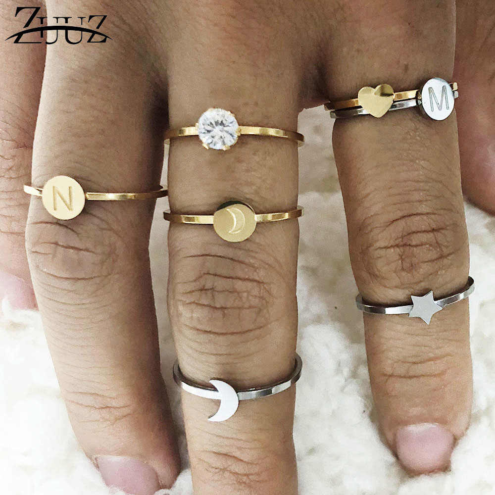 ZUUZ rings for women heart letter ringen stainless steel jewelry accessories silver gold finger ring set  jewellery female