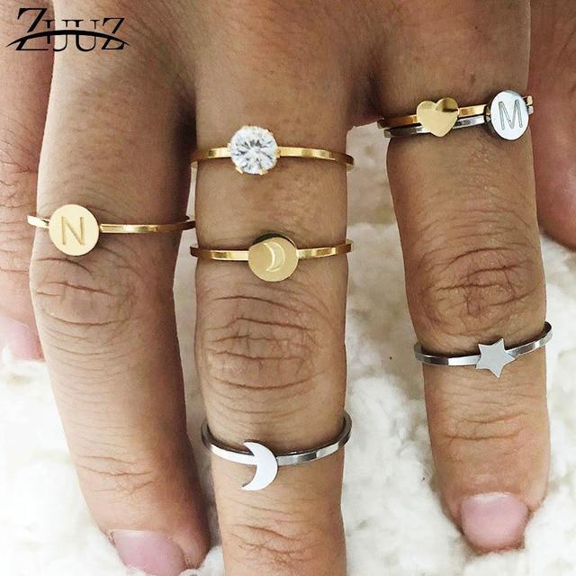 ZUUZ nhẫn đối với phụ nữ trái tim thư ringen thép không gỉ trang sức phụ kiện bạc ngón tay vàng nhẫn set đồ trang sức nữ