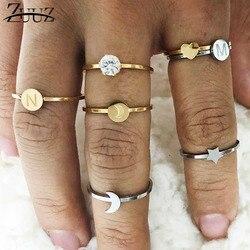 ZUUZ yüzükler kadınlar için kalp mektubu ringen paslanmaz çelik takı aksesuarları gümüş altın parmak yüzük seti takı kadın
