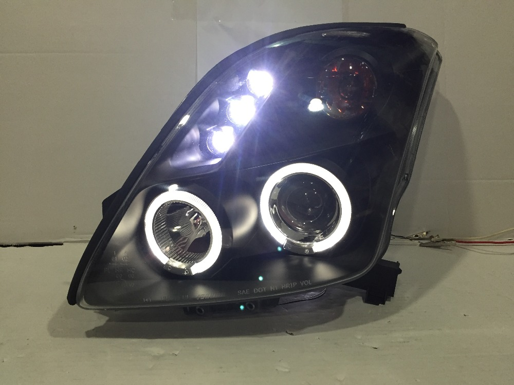Free shipping for Suzuki for Swift LED headlight H7 or D2H xenon lamps HID with angel eyes Daytime running light suzuki swift 1998 г