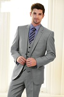 Custom Made To Measure Men Suit, Bespoke Light Grey Tuxedo Jacket And Pants With V neck Vest,Classic Gray Wedding Suits For Men