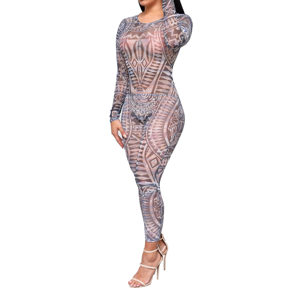 Adogirl Tribal Tattoo Print Mesh Sheer Jumpsuit Women Autumn Sexy See Through Backless Bodycon Long Rompers