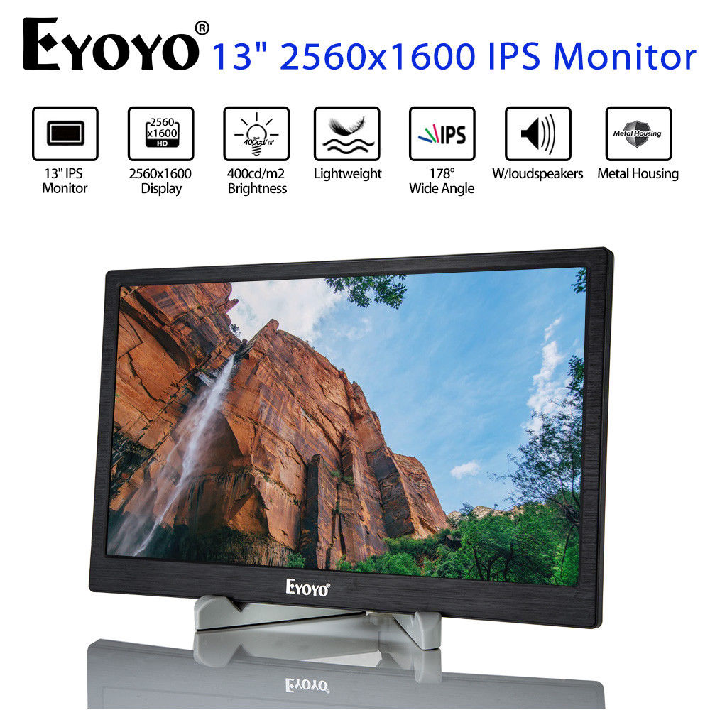 Eyoyo 13Inch 2560x1600 High Resolution IPS Gaming Monitor With Dual HD Input Built-in Speakers For PC Laptop DVD PS3 PS4 Xbox