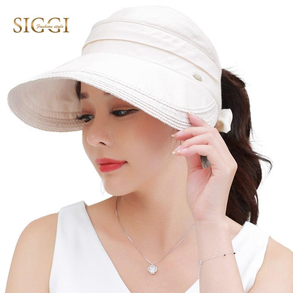 SIGGI Women summer hat sun visor wide brim packable 100%linen upf50 uv cap vent free size fashion 89326