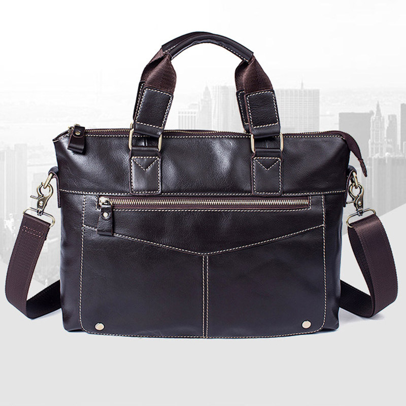 Genuine Leather business men s handbag oil wax leather casual shoulder Messenger bag Male briefcase Office