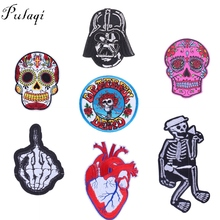 Pulaqi Punk Heart Patch Rock Rose Skull Patches for Clothing Coat Iron on Sewing Applique DIY Sew Accessories Garment Stickers D