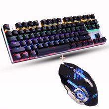 LED Backlit red/blue/black switch Gaming Mechanical Keyboard+Macro programming Mouse combo set 3200DPI gaming Russia stickers