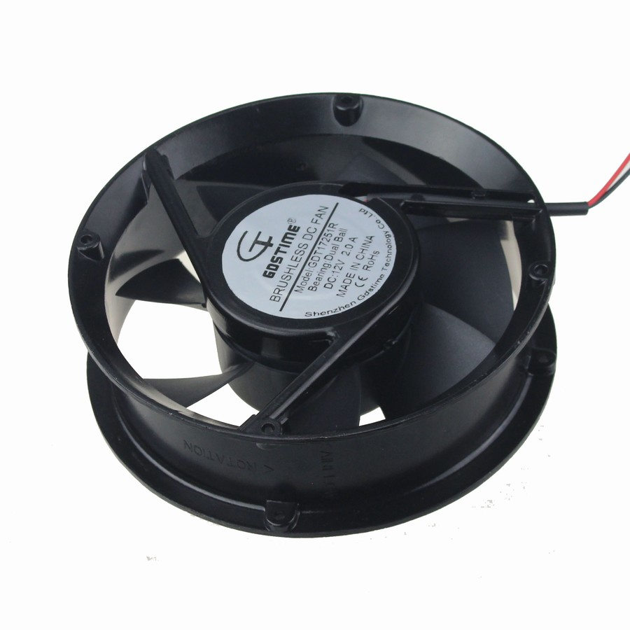 2pcs/lot Gdstime Fan 17251 170mm 172x51mm 17cm Ball 12V DC Axial Cooling Cooler 2 pcs gdstime tow ball bearing 48v 170mm x 50mm circle cooler metal case industrial dc cooling fan 172mm x 51mm 2pin 17cm 17251