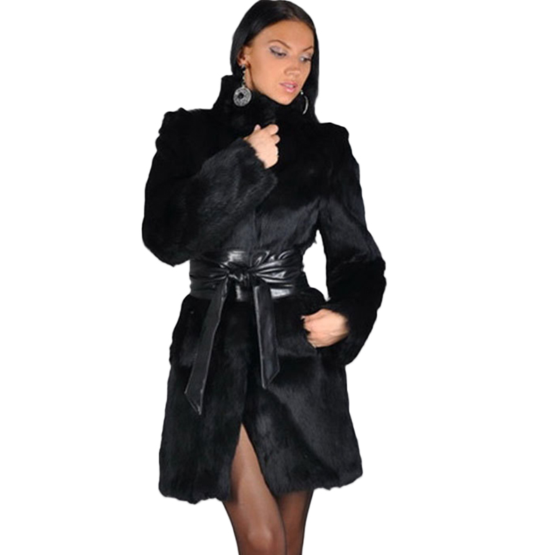 De luxe D'hiver Noir Long En Fausse Fourrure Manteau Femmes Stand Col Épais Chaud Femmes En Fausse Fourrure Manteau Avec Ceinture À Manches Longues survêtement Femelle