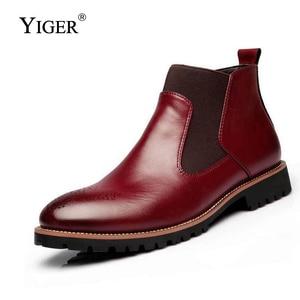 Image 3 - YIGER ใหม่ผู้ชายเชลซีรองเท้าบู๊ทข้อเท้าขนาดใหญ่สีดำ/น้ำตาล/ไวน์แดงสไตล์อังกฤษชายรองเท้าหนังนุ่มจัดส่งฟรี 0001