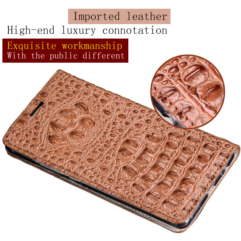 Marca do crocodilo padrão de volta caso de telefone Para Huawei P20 lite Genuine leather flip phone case caso de telefone fivela Magnética - 6