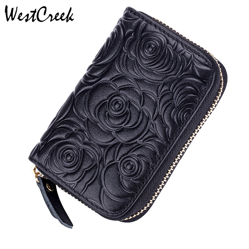 WESTCREEK Brand Genuine Leather Zipper Organ Flower Card Holder Oil Wax Leather RFID Anti Theft Credit Card Bag Coin Coin