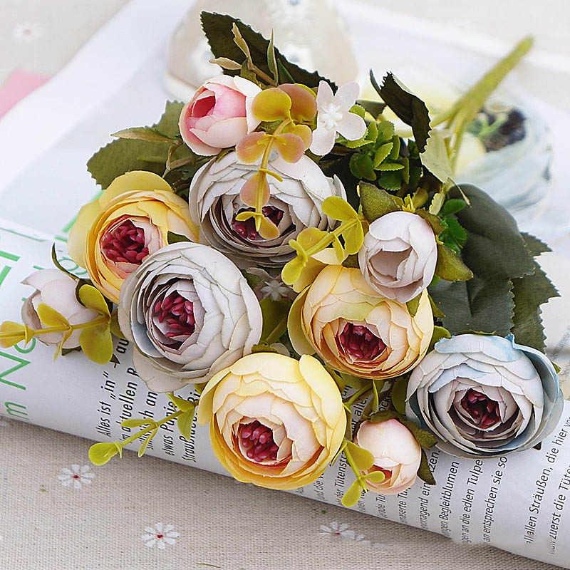 10ヘッドヴィンテージシルク花レトロ茶バラ人工花花嫁のブーケ結婚式の装飾ホーム偽花a3050