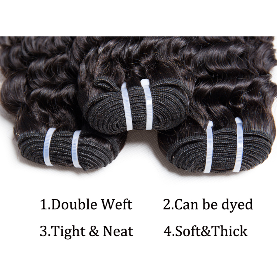 Deep Wave 3 Bundles with Closure Brazilian Hair Weave Modern Show Hair Human Hair Bundles with Closu