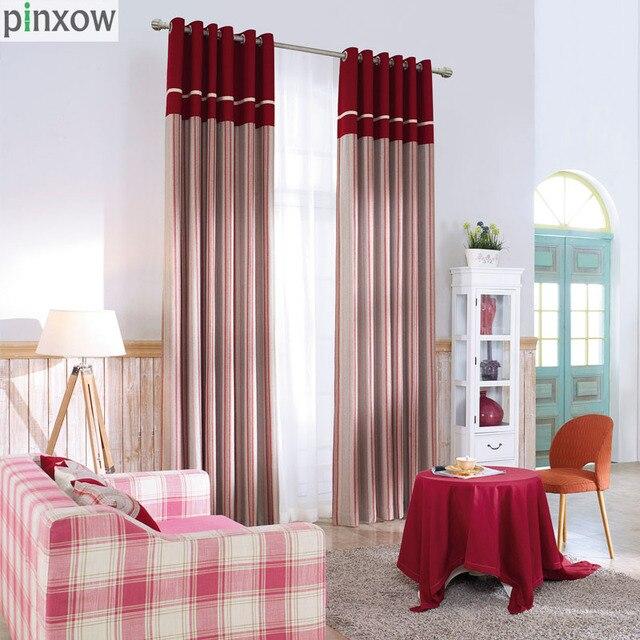 Luxus Schottland Vorhänge Für Wohnzimmer Rot Dicke Vorhänge Für Schlafzimmer  Nach Maß Wohnkultur Fenster Streifen Stoff