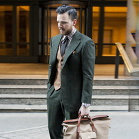 2018 latest coat pant design dark green man suit for business wedding tweed custom blazer classic jacket slim fit formal 3 piece
