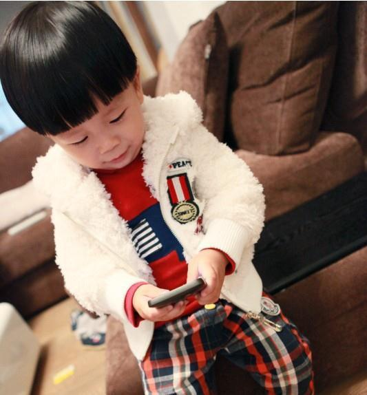 ФОТО Free shipping Winter fashion outerwear male female child plush labeling the autumn and winter outerwear