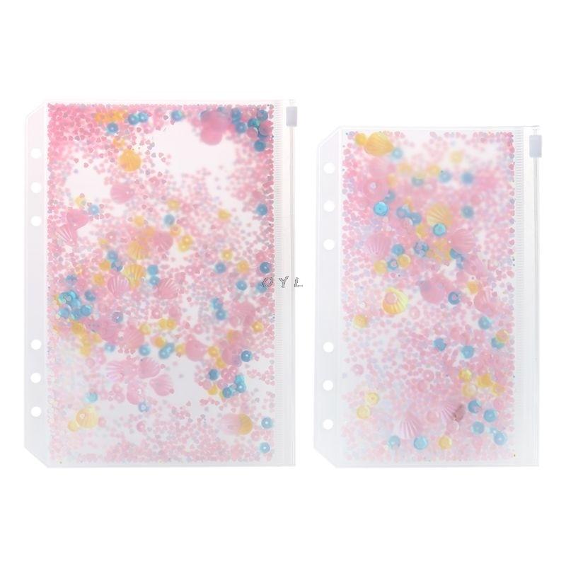 Pink Sequins Storage Zipper Bag Case A5 A6 Divider Planner Accessories Shake Card For Spiral Notebook School Supplies