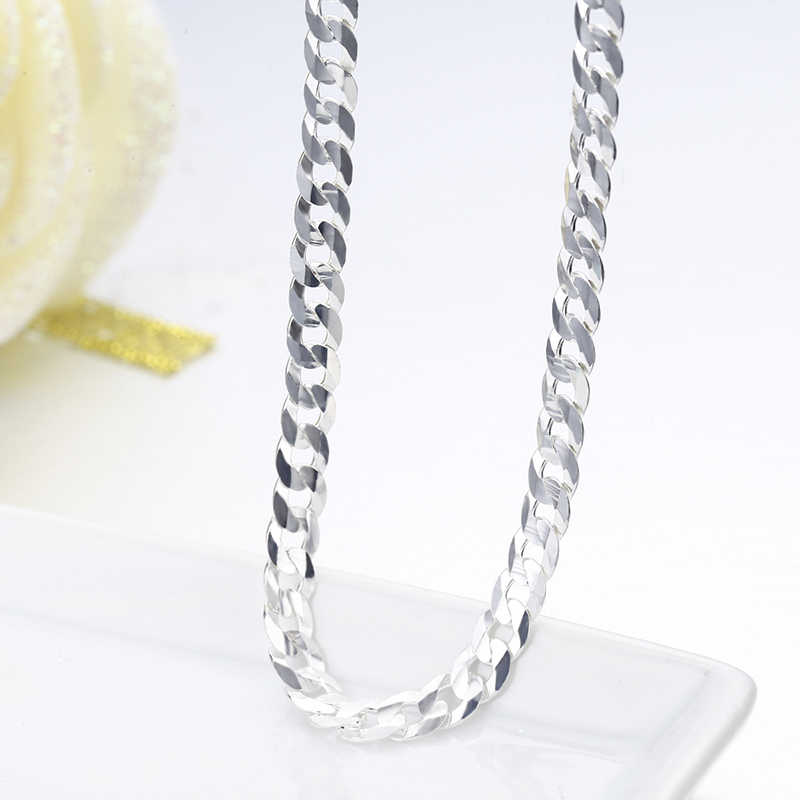 925 Sterling Silver Curb Chain Link Necklaces Women Men Jewelry collares kolye Collier Hiphop 50cm 55cm 60cm 4mm 6mm ketting
