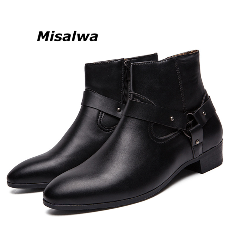 Misalwa 2019 British Style Casual Men Fashion Ankle Motorcycle Boots Men Pointed Toe PU Leather Male