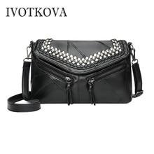 IVOTKOVA Women Vintage Bag Rivet Handbags Bags Designer Fashion Messenger Female CrossBody Shoulder Purse