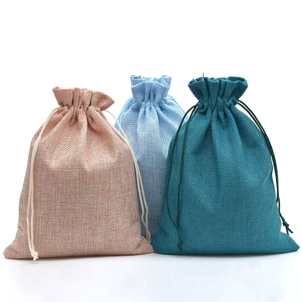 50pcs 17x23cm Jute Drawstring Bags Wedding Favor Jewelry Packaging Bag For Craft Coffee Beans Storage Linen Jute Gift Bag