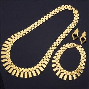 Image 2 - Ensemble de collier avec Bracelet, boucles doreilles et boucles doreilles, ensemble de bijoux tendance pour femmes, couleur or/argent, ras du cou africain, S462